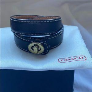 Coach turn lock double wrap black bracelet